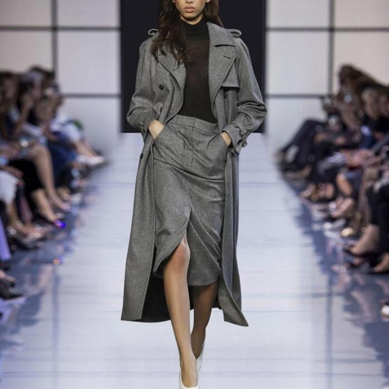 Winter Dress Suit Women Elegant Woolen Long Trench Coat Double Breasted Female Formal Business Wear Fashion Set For Office Lady
