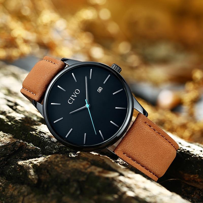 CIVO 2019 New Fashion Mens Watches Top Brand Luxury Waterproof Slim Leather Strap Quartz Watch Men Clock Relogio Masculino in Quartz Watches from Watches