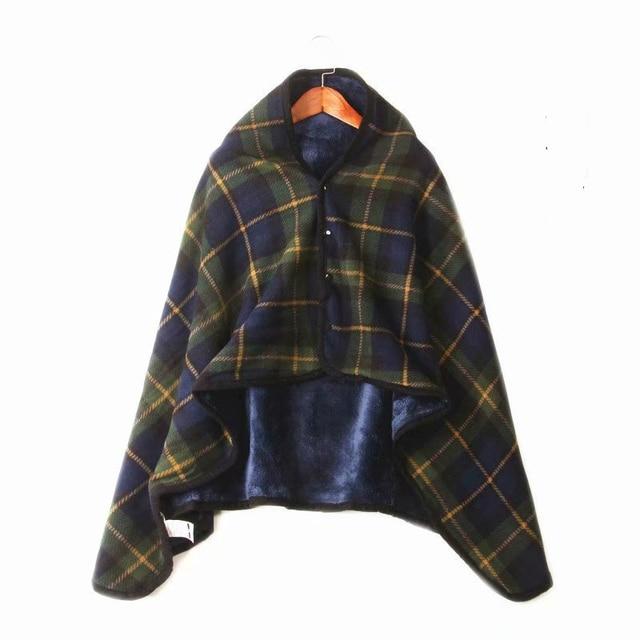6e9db55cc Warm Cozy Plush Sherpa Fleece Pullover Wearable Sweatshirt Blanket Throw  Blanket Button Wrap Shawl Women Poncho Cape Coat Plaid