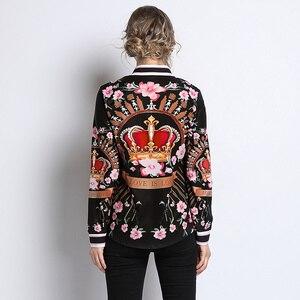 Image 3 - คุณภาพสูง 2019 ใหม่รันเวย์ Designer เสื้อผู้หญิงเสื้อแฟชั่นวินเทจ Retro สุภาพสตรีเสื้อสำนักงานผู้หญิงเสื้อและเสื้อพิมพ์