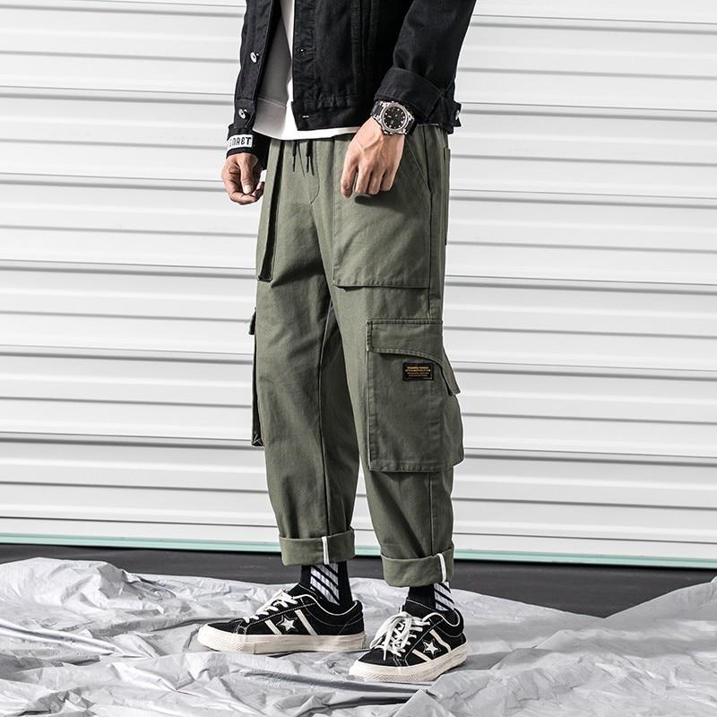 2018 Men's Pocket Printing Trousers Active Elastic Harem Hip Hop Casual Cargo Pants Green Camouflage Joggers Sweatpants M-3XL