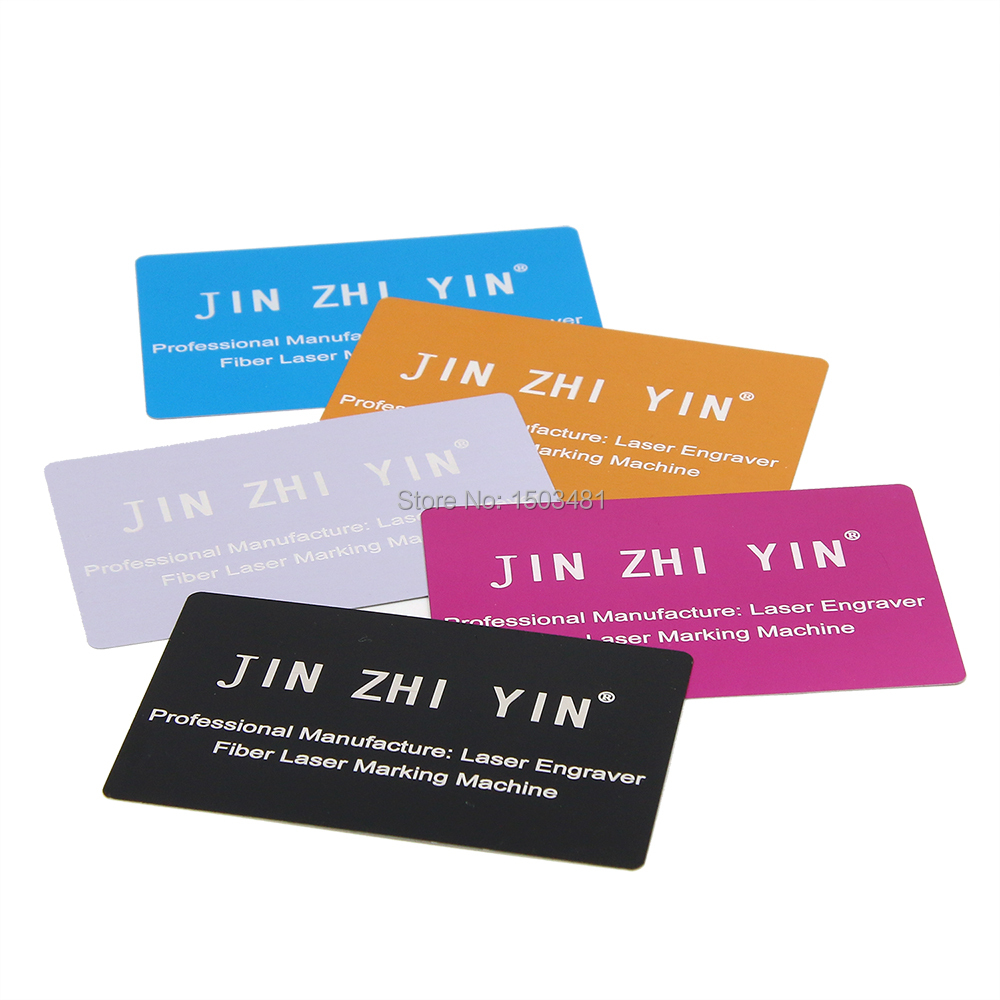 JINZHIYIN Business Name Cards Multicolor Aluminium Alloy Metal Sheet Testing Material 1pcs For Laser Marking Machine