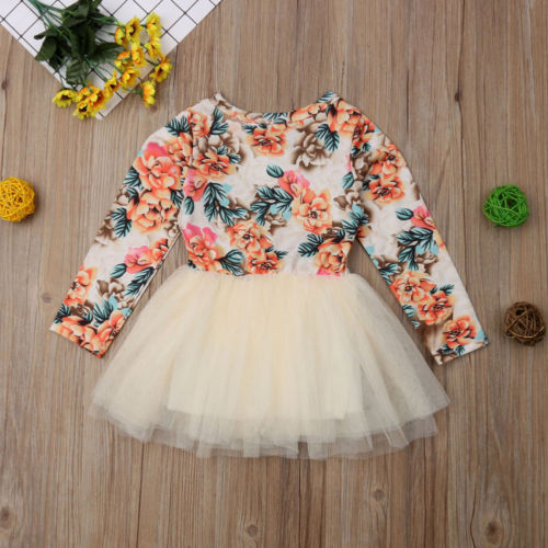 Flower Newborn Dress Cute Baby Kids Baby Girl Long Sleeve Lace Dress Party Pageant Princess Dresses in Dresses from Mother Kids