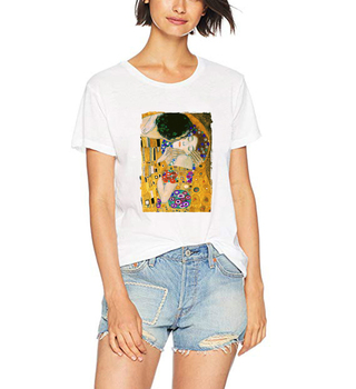 Vogue T Shirt The Kiss by Gustav Klimt White T-shirts Women 100% Cotton Summer Shirt Aesthetic Casual Tops Hipster Tees