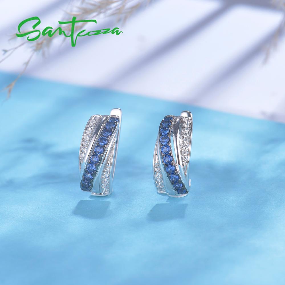 Image 5 - SANTUZZA Silver Earrings For Women 925 Sterling Silver Stud Earrings Blue Nano Cubic Zirconia brincos Elegant Fashion JewelryEarrings   -