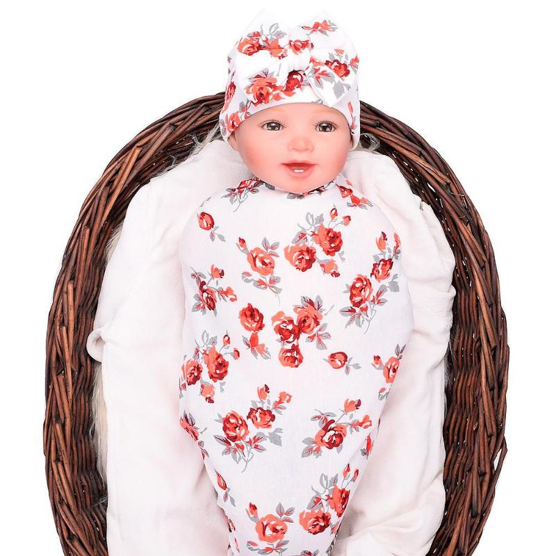 2019 New 2pcs/Set Vintage Flowers Printed Baby Bowknot Hat Soft Elastic Infant Sleeping Blanket Wrap Swaddle New Year Gifts