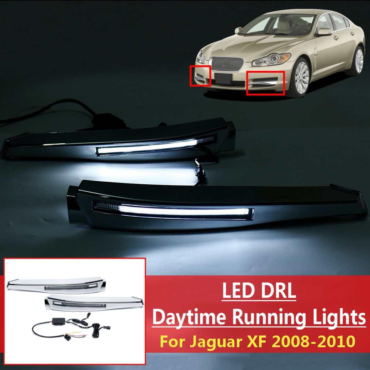 1 paire Voiture 12 v Blanc LED Feux de jour DIY Feux de Brouillard Drl Lampe Avec Harnais Pour Jaguar XF 2008 2009 2010 Style