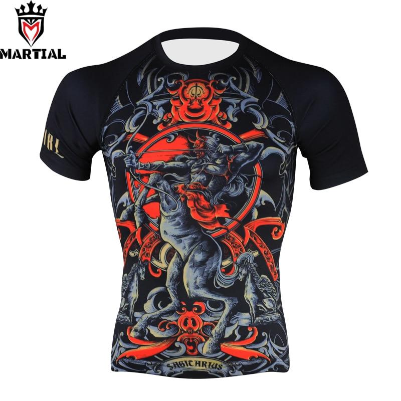 Martial:Sagittarius Original Printed Rashguard Men Mma Boxing Shirt Compression Shirts Running Jogging Gym Shirts Fight Tights