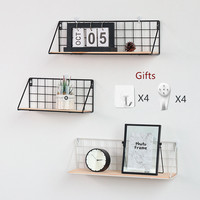 Nordic Wooden Iron Wall Shelf Wall Mounted Storage Rack Organizer For Living Room Kitchen Home Decor Diy Wall Decoration Holder