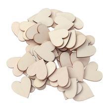 50 шт. 2,5 см деревянные сердечки Ломтики украшения для семейного альбома свадьба ремесла