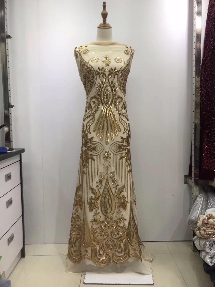gold Nigerian French Lace Fabrics 2018 African Tulle Lace Fabric High Quality African Lace 3D Embroidered