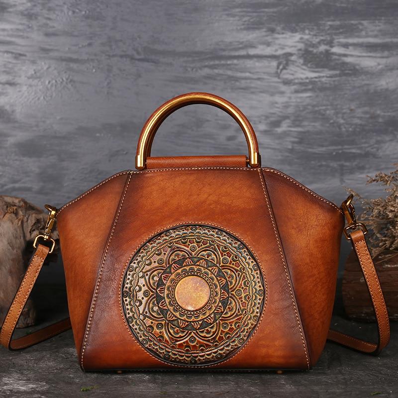 High Quality Genuine Embossed Leather Messenger Top Handle Bag Retro Handbag Totem Pattern Natural Skin Women Shoulder Tote Bag