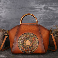 High Quality Genuine Embossed Leather Messenger Top Handle Bag Retro Handbag Totem Pattern Natural Skin Women Shoulder Tote Bag