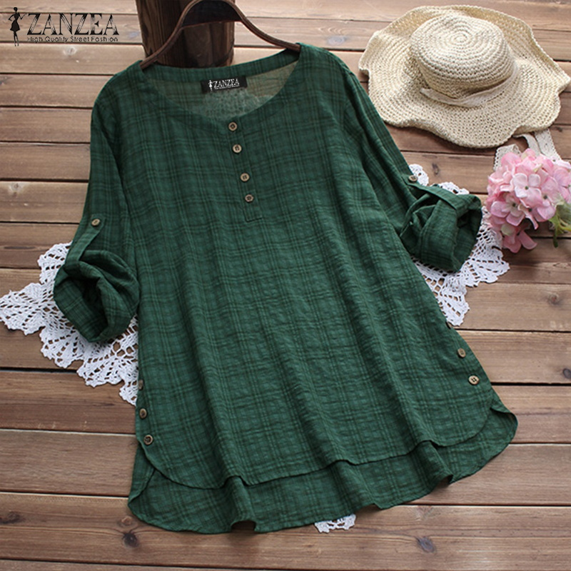 Tops ZANZEA Women Blouse Casual Loose Plaid Shirt Ladies Blusas Vintage Womens Clothing Cotton Linen Blusa Feminina Plus Size