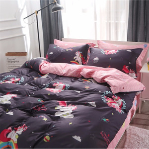 Image 4 - Cartoon Unicorn Bedding Sets Colorful Rainbow and Cloud Pattern Duvet Cover Set Striped Bed Sheet Pillowcases