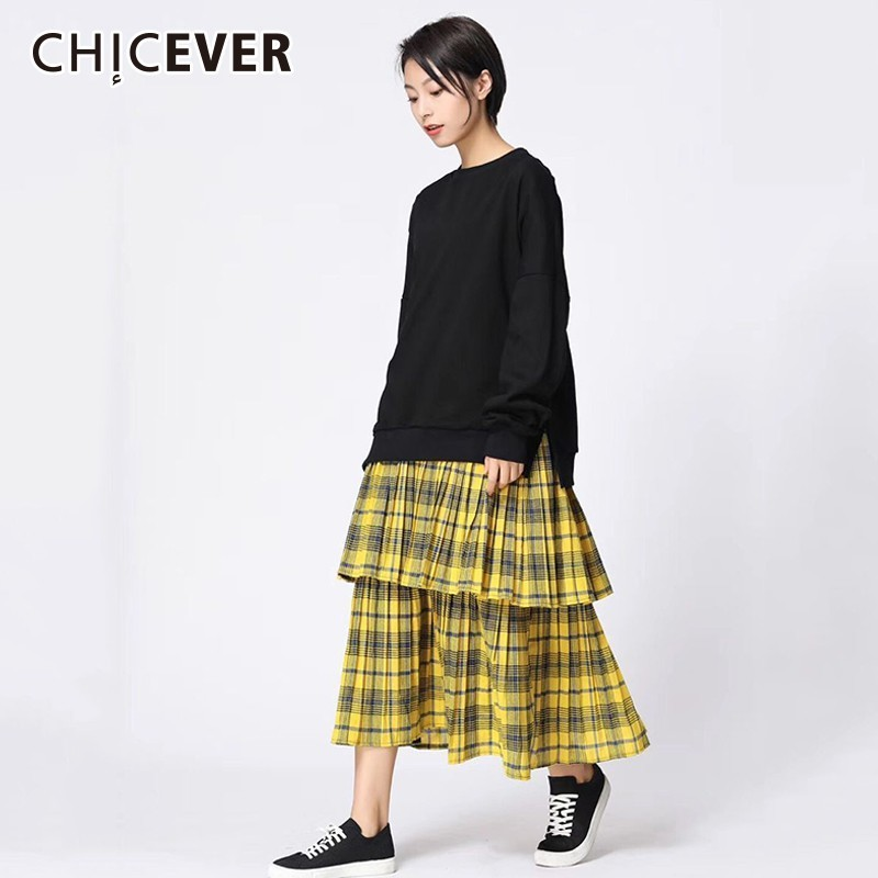 CHICEVER Spring Patchwork Plaid Women s Dresses Female O Neck Long Sleeve Loose Hit Colors Midi