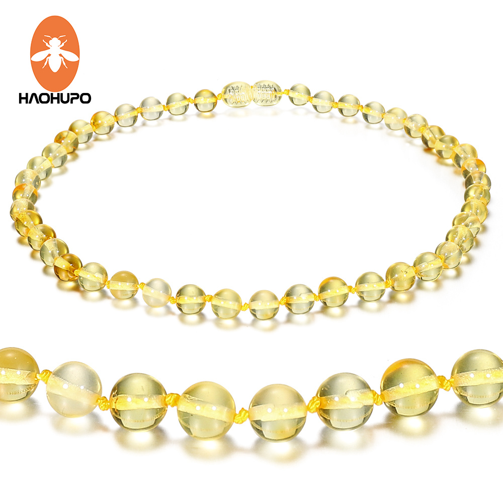 Hao Hu Po 100 Genuine Amber 6 Style Polished Amber Necklace for Baby Adult Gifts Handmade Baltic Natural Jewelry in Necklaces from Jewelry Accessories