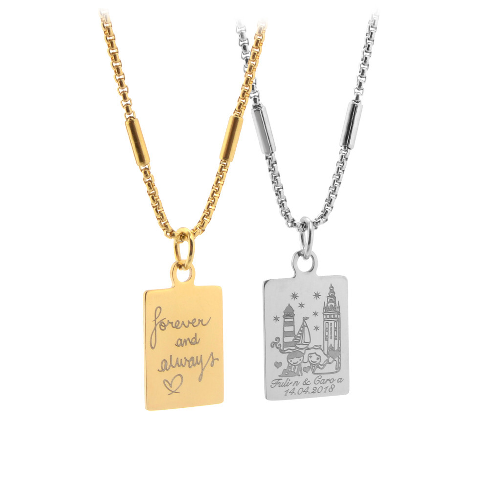 2018 Personalized Lovers Necklace Classic Women Custom Engraved Name Words  Necklaces Men Gold and Silver Stainless Steel Pendant ab17d230af