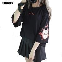 Japanese Demon Fox Printed T shirt Lace up Cross Ribbon Korean T shirt Women Girls Three Quarter Sleeve Black Summer Tee Tops