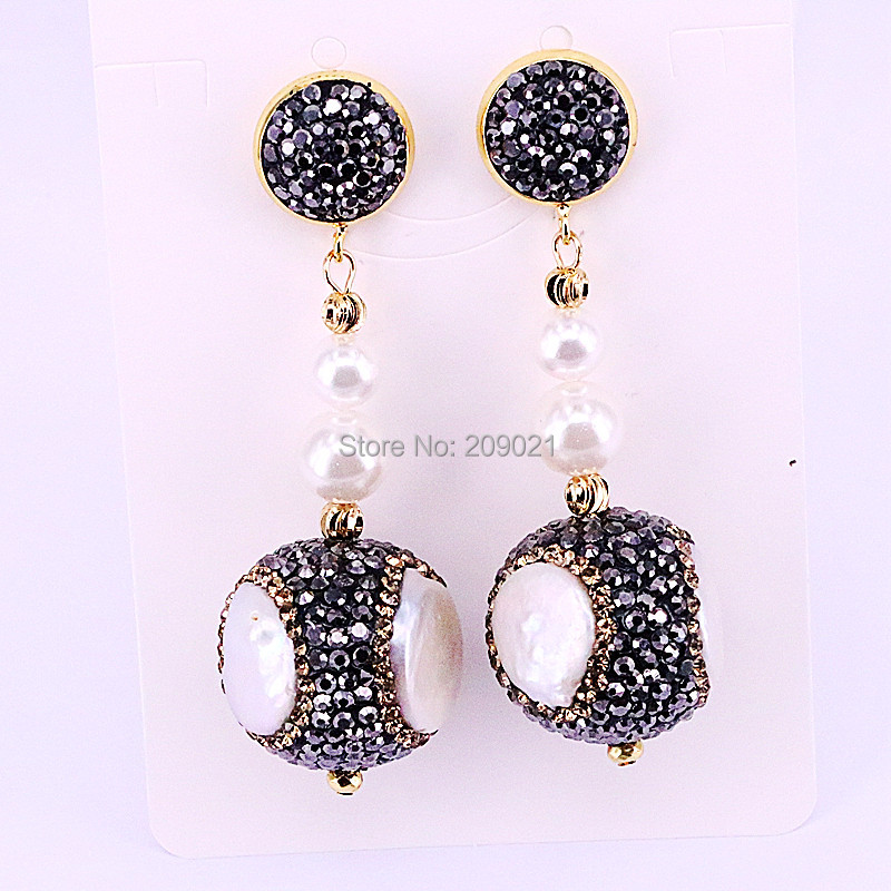 4Pairs New Fashion Pave Crystal Rhinestone natural freshwater pearl beads dangle earrings Women Party Jewelry