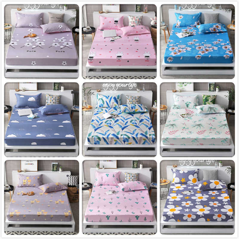 2019 New Autumn Winter 1pc Fitted Sheet High Quality Mattress Cover with Rubber Elastic Band Adult Kids Child Bed Linen 19