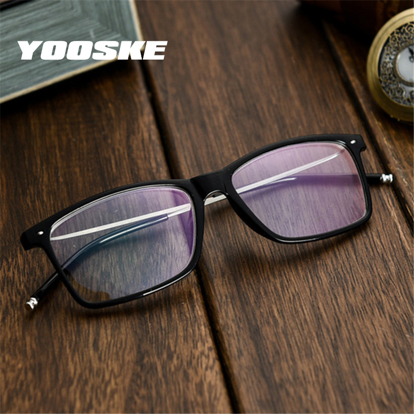 YOOSKE Myopia Glasses Men Business Myopic Glasses Short-sighted Eyewear Black Spectacles With Degree 1.0 1.5 2.0 2.5 3.0 3.5 4.0