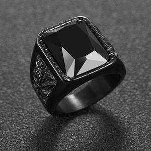 OBSEDE Trendy Men Square Black Red Stone Ring Titanium Steel Retro Signet Ring Rock Punk Male Jewelry Accessories Boyfriend Gift