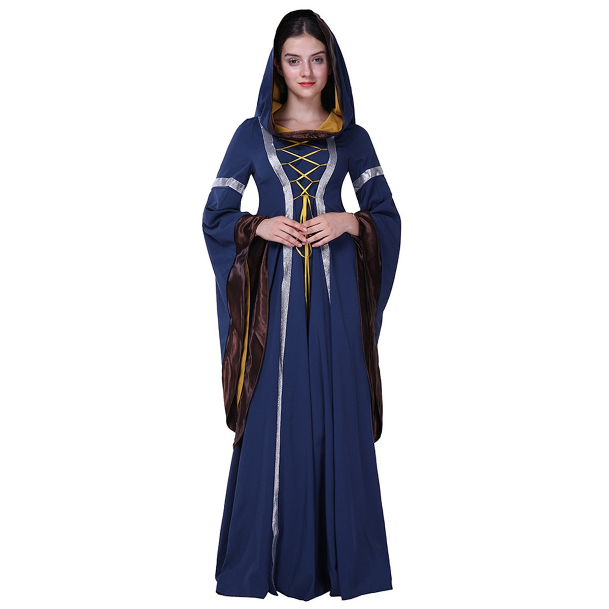 Medieval Dress Halloween Robes Gothic Gown Vintage Cosplay Renaissance Victorian Elegant Party Long Maxi Bandage Dresss