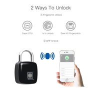 Smart Keyless Fingerprint Lock USB Rechargeable Access Bluetooth Security Padlock Door Luggage Case Lock For Android iOS