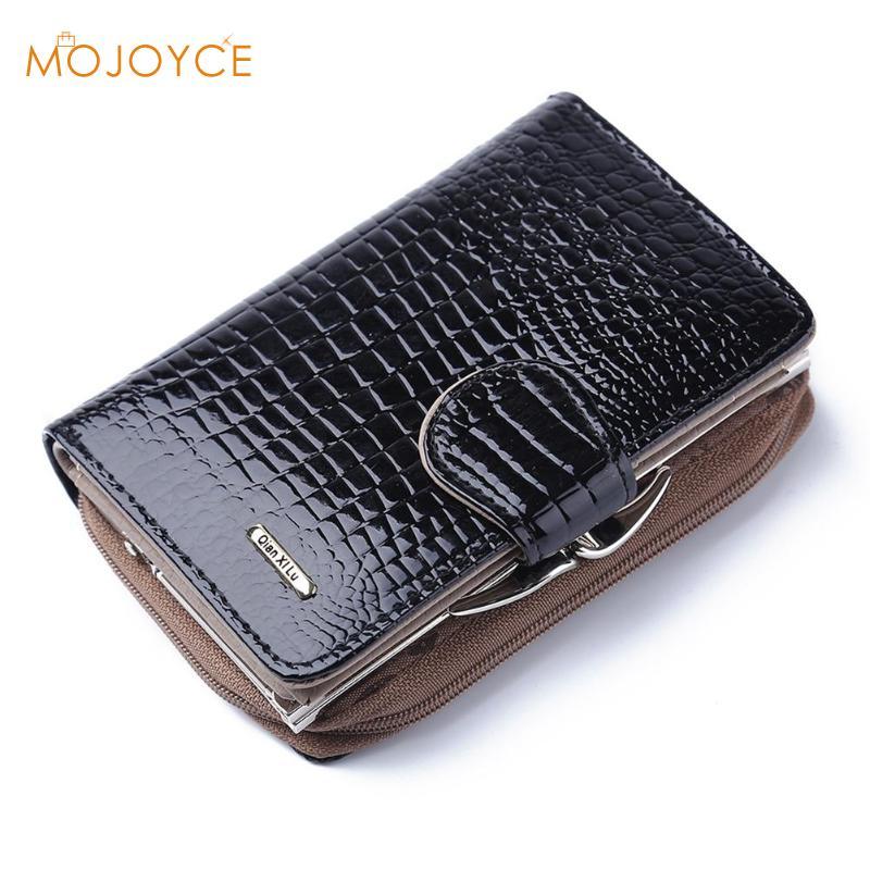 Women Crocodile Pattern Short Wallets Clutch Bags Coin Purse Card Holder Package