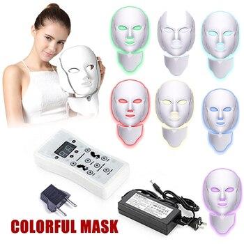 Shellhard 7 Colors Photon Electric LED Facial Mask with Neck Skin Rejuvenation Anti Acne Wrinkle Treatment Salon Home Use