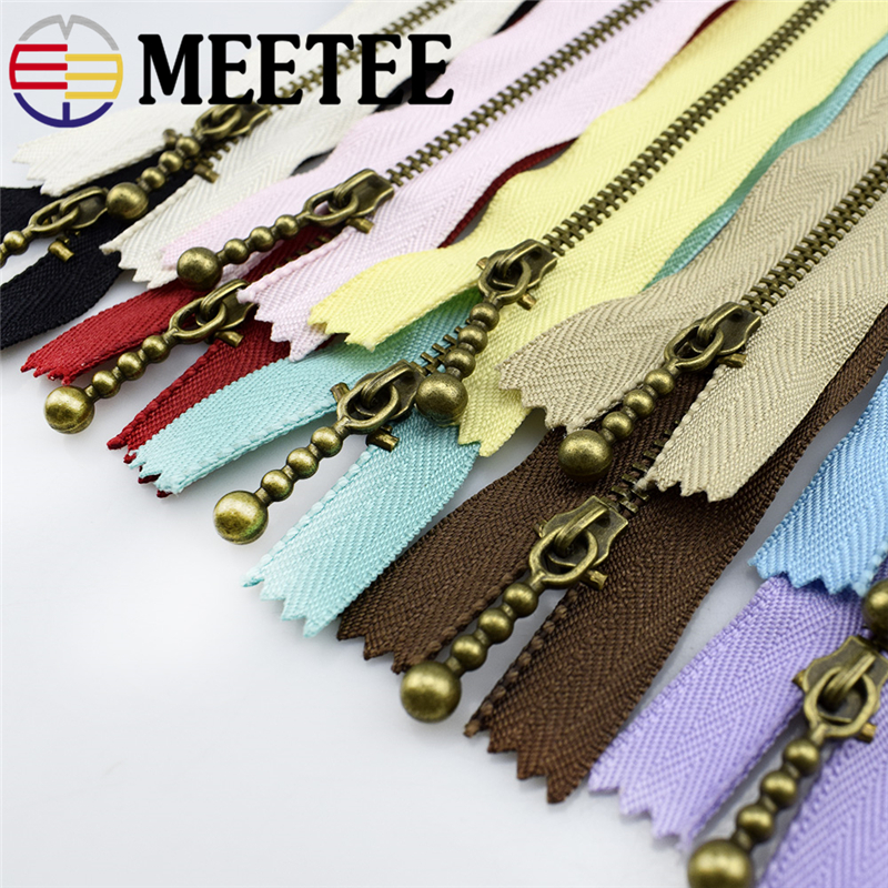 10Pcs Meetee Bronze Metal Zippers 15/20/30/40cm 3# Close-end For Sewing DIY Bags Jeans Shoes Clothing Tailor Acessories