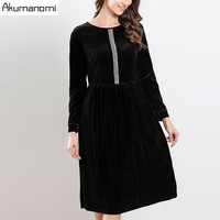 2019 Spring Velour Dress Velvet Women's Clothing Sequins Beading Diamonds O neck Full Sleeve A line Brilliant Dress Plus Size
