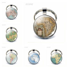 Vintage World Map Glass Cabochon KeyChain South America Australia Africa Antarctica Europe Pendant Key Chain Rings Fashion Gift