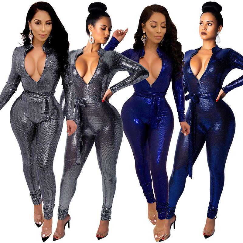 Сексуальный блестящий комбинезон для женщин, облегающий Блестящий Комбинезон на молнии с v-образным вырезом и длинным рукавом с поясом на талии, бандажный комбинезон с блестками, Женская Клубная одежда