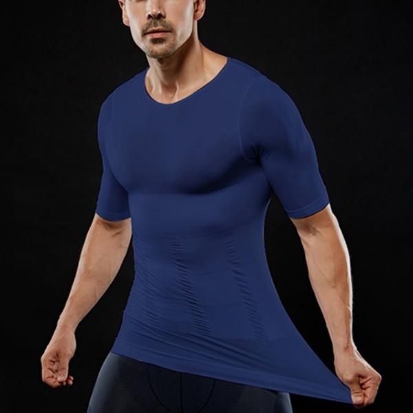 Men's Slimming Shaper Posture Corrector Compression T-Shirts Tummy Control Body Building Fat Burnning Chest Corset 4