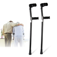 A Pair Aluminum Alloy Adjustable Walking Aid Forearm Crutches Elbow Auxiliary Equipment Personal Health Care Tool
