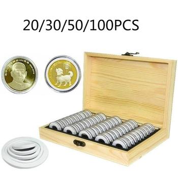 Drewno sosnowe etui na monety monety pierścień drewniane pudełko 20 30 50 100 sztuk kapsułki w kształcie monet pomieścić kolekcjonerska pamiątkowa moneta Box tanie i dobre opinie CN (pochodzenie) Coin Storage Box Drewna Ekologiczne Skrzynki i pojemniki Nowoczesne Rectangle Pudełko na biżuterię Coin Capsules Coin Box
