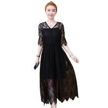 купить Plus Size 5XL Summer Sexy Hollow Out Lace Dress Women V Neck Short Sleeve Loose Party Dresses Vestidos Mujer по цене 1655.89 рублей