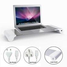 Алюминиевая Подставка для ноутбука, держатель для компьютера, монитора, телевизора, 4 USB, зарядное устройство, Великобритания/ЕС, подставка для ноутбука, офисный стол