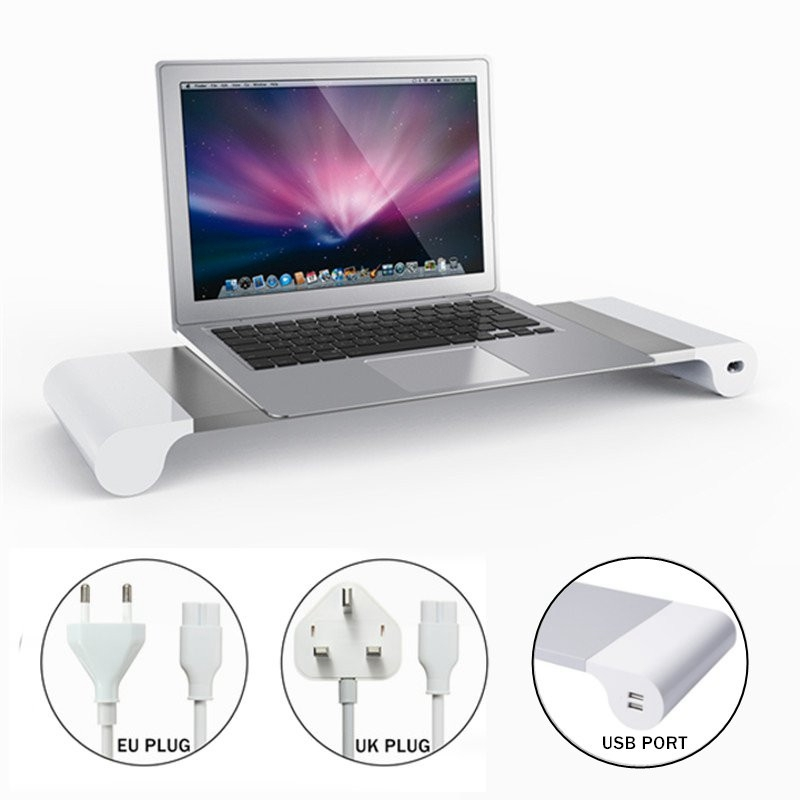 Aluminium Laptop Stand Holder For Computer Monitor TV 4 USB Charger UK/EU Plug Notebook Stand Office Desk