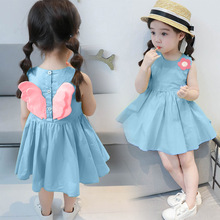 Girls dress summer 2019 casual sleeveless flower childrens clothing new cotton angel wings foreign baby clothes