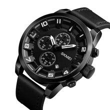 Skmei Luxury Brand Fashion Business Quartz Watch MenS Sports Waterproof Leather Relogio Masculino 1309
