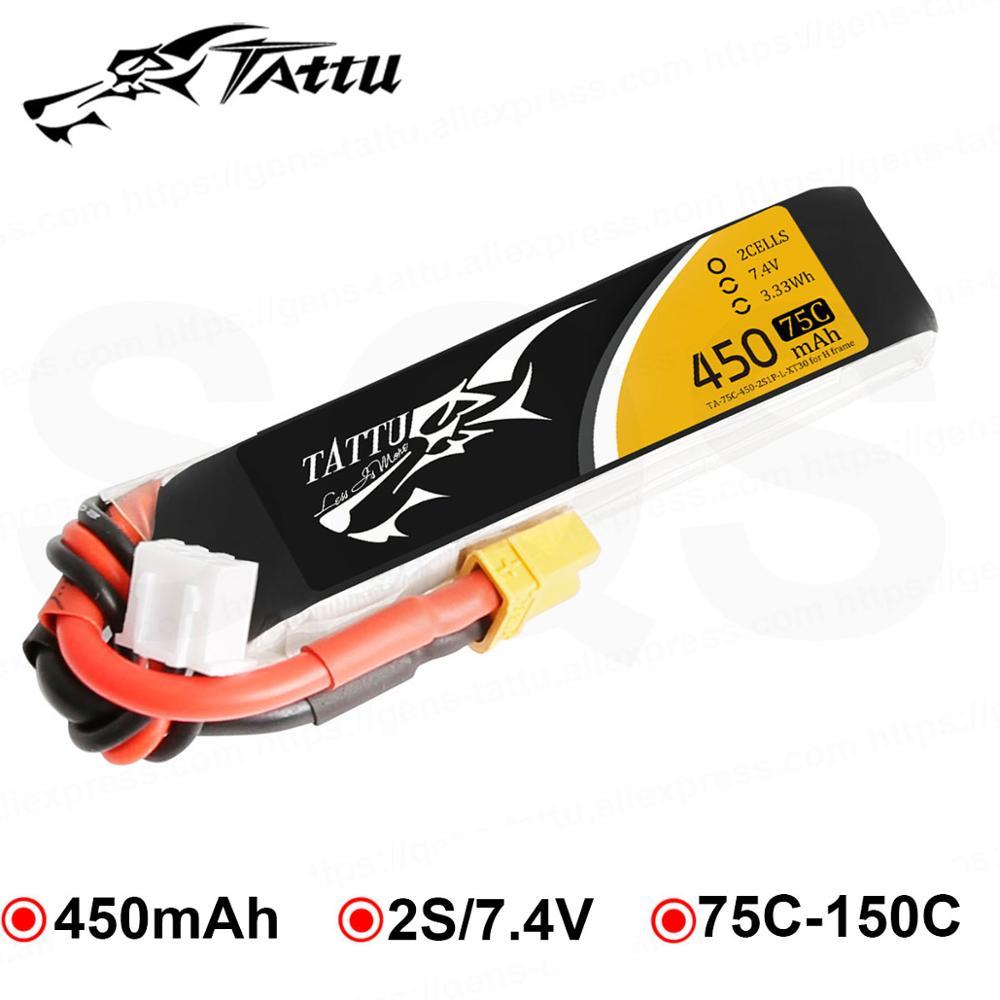 Литий-полимерный аккумулятор TATTU 7,4 в 450 мАч Lipo 2s 75C RC батарея XT30 вилка батареи для мини дрона квадрокоптера дрона UAV RC автомобиль FPV 120 Размер