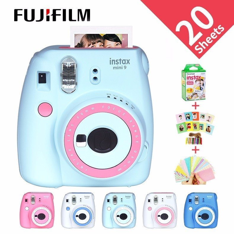 Nouveau Fujifilm Instax Mini 9 cadeau gratuit caméra Photo film caméra 6 couleurs bloquant la caméra Photo instantanée
