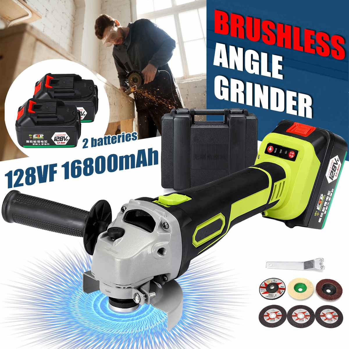 128VF 100mm 1200W 8000RPM Cordless Electric Angle Grinder Power Cutting Tool Rechargeable Li-ion Battery Charge Grinding Machine