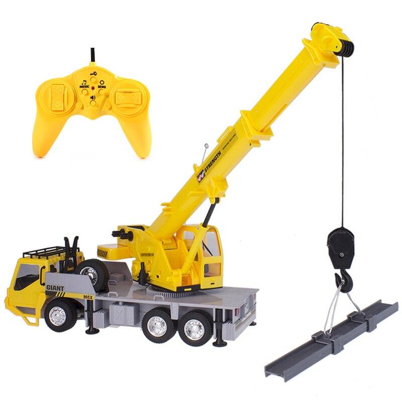 Rc grue modèle grue ingénierie voiture jouets pour enfants anniversaire noël bon cadeau Brinquedos télécommande fret ascenseur