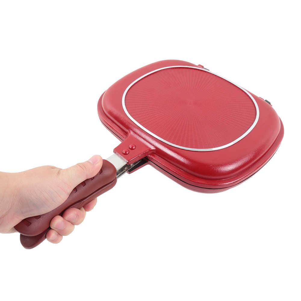 Nouveau 28 cm Double côté gril poêle à frire ustensiles de cuisine en acier inoxydable Double Face poêle Steak poêle à frire accessoires de cuisine outil de cuisson