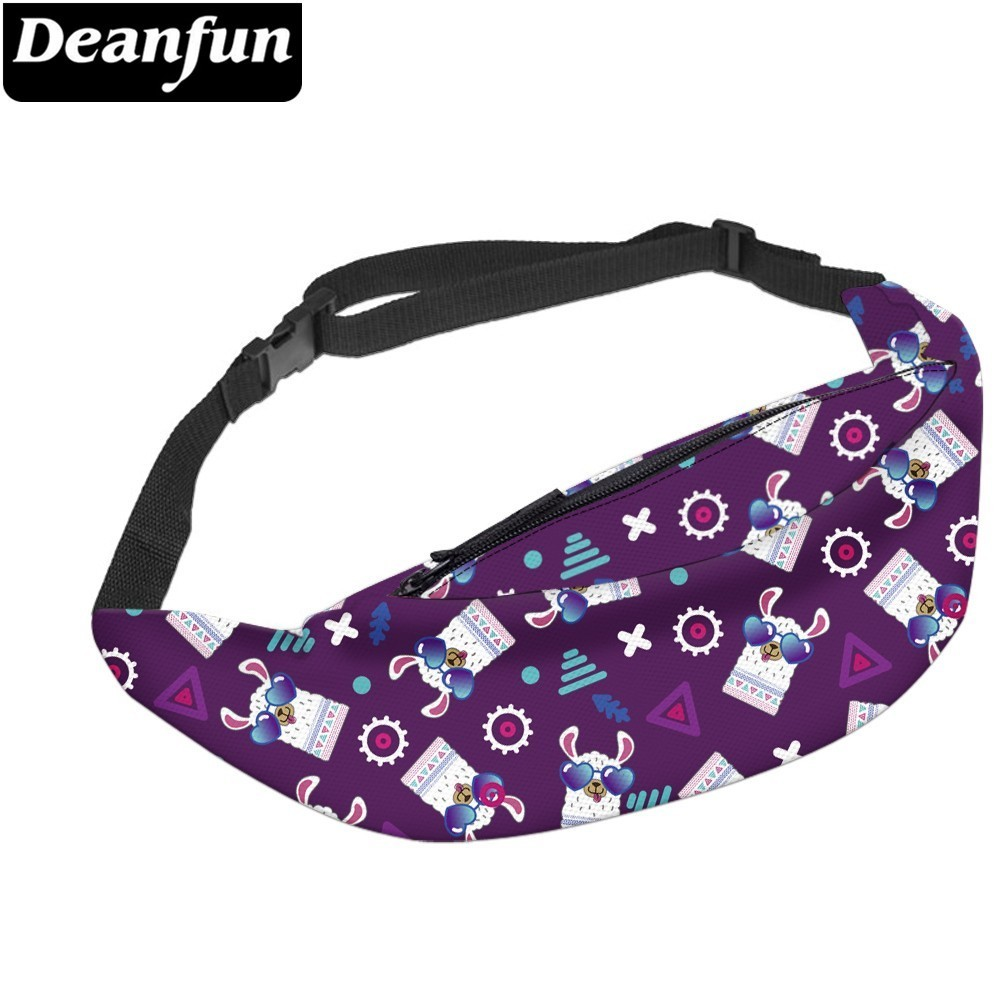 Deanfun Water Resistant Fashion Llama Fanny Packs Woman Waist Pack Gift Alpaca Purple Bum Bag For Phones  YB-68