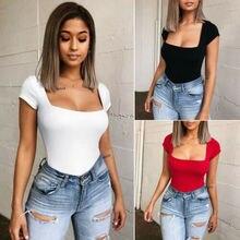 Womens Bodysuit Jumpsuit Leotard Short Sleeve Top Shirt Stretch Blouse
